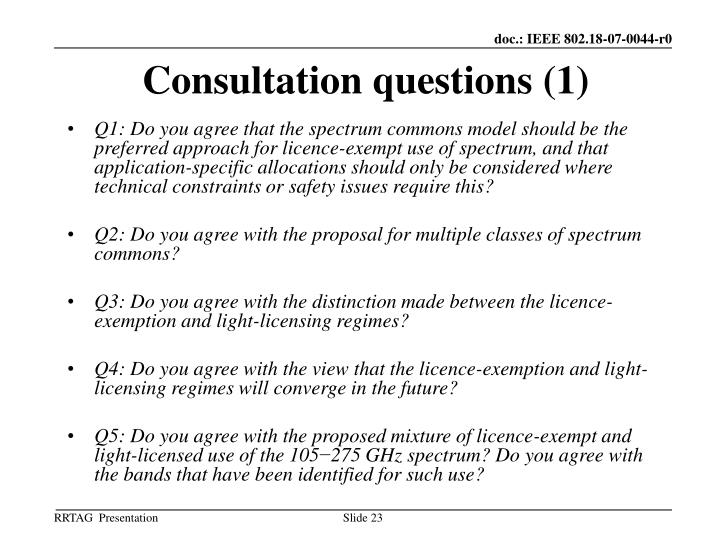 Consultation questions (1)