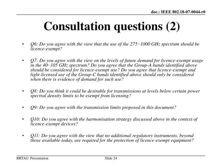 Consultation questions (2)