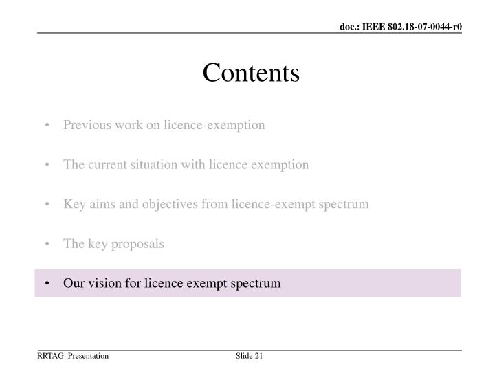 Previous work on licence-exemption