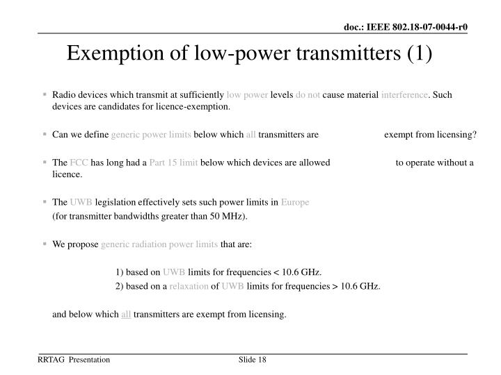 Exemption of low-power transmitters (1)
