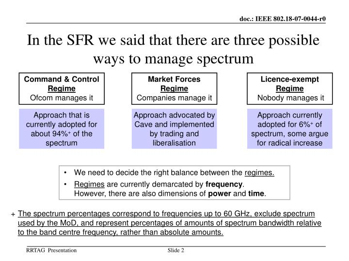 In the sfr we said that there are three possible ways to manage spectrum