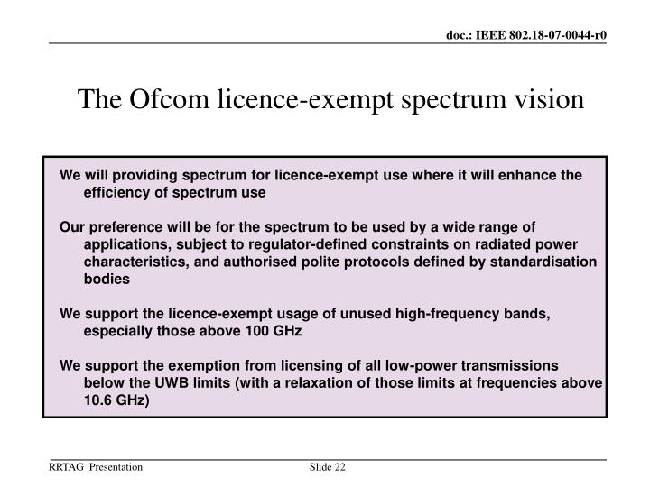 The Ofcom licence-exempt spectrum vision