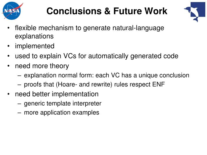 Conclusions & Future Work