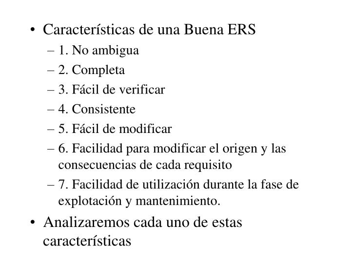 Características de una Buena ERS