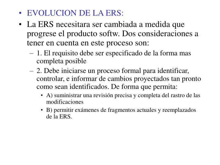 EVOLUCION DE LA ERS: