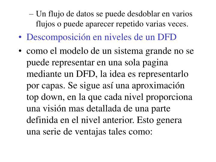 Un flujo de datos se puede desdoblar en varios flujos o puede aparecer repetido varias veces.
