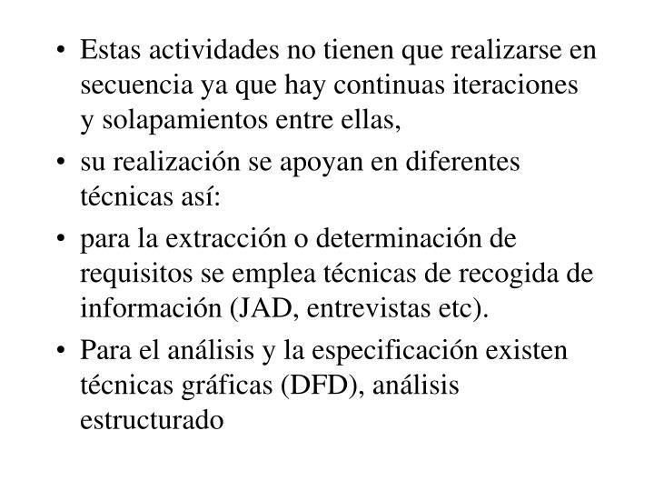 Estas actividades no tienen que realizarse en secuencia ya que hay continuas iteraciones y solapamientos entre ellas,