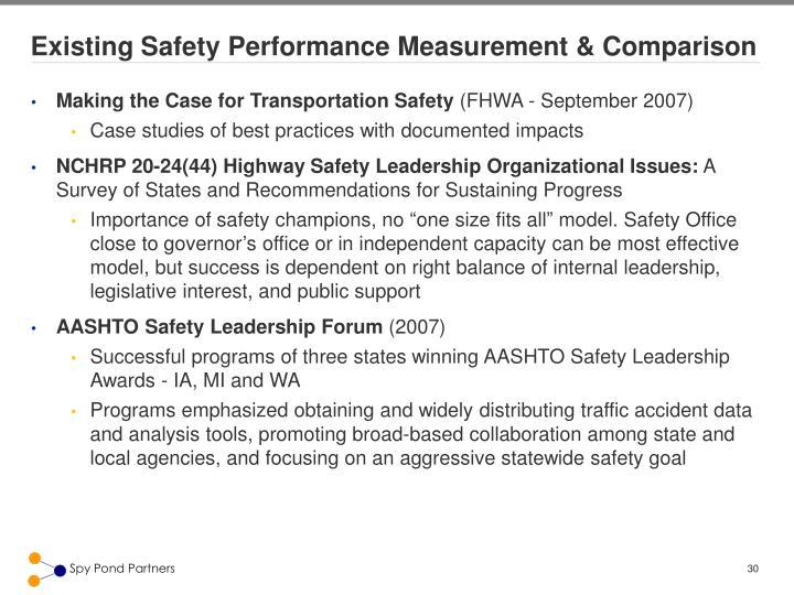 Existing Safety Performance Measurement & Comparison