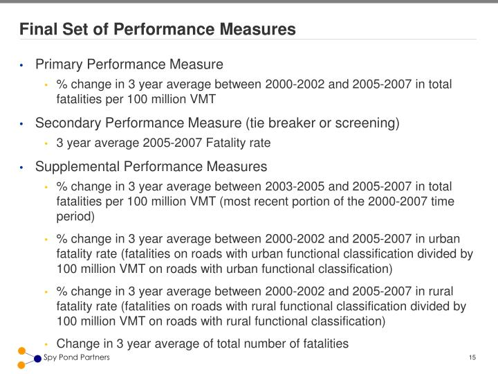 Final Set of Performance Measures
