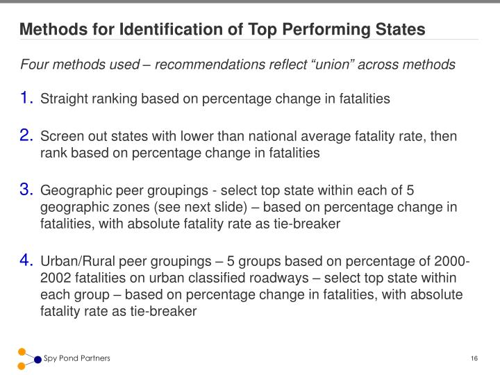 Methods for Identification of Top Performing States