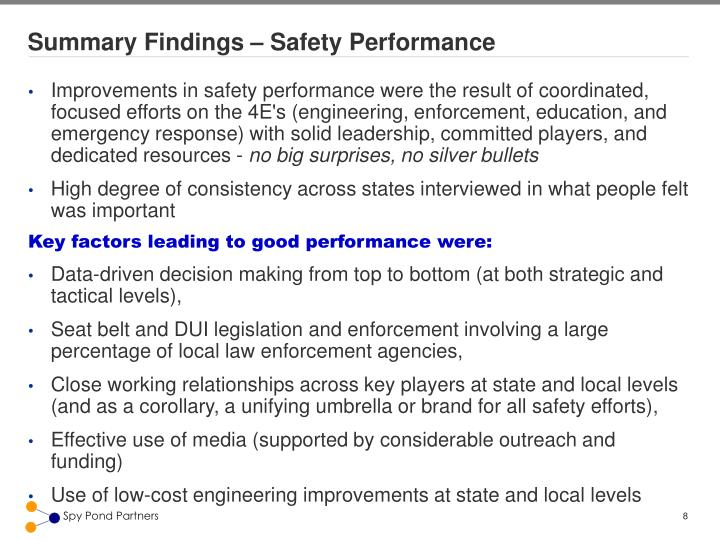 Summary Findings – Safety Performance