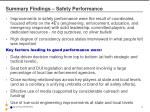 summary findings safety performance