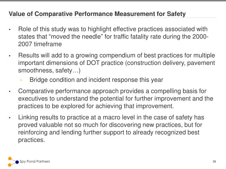 Value of Comparative Performance Measurement for Safety