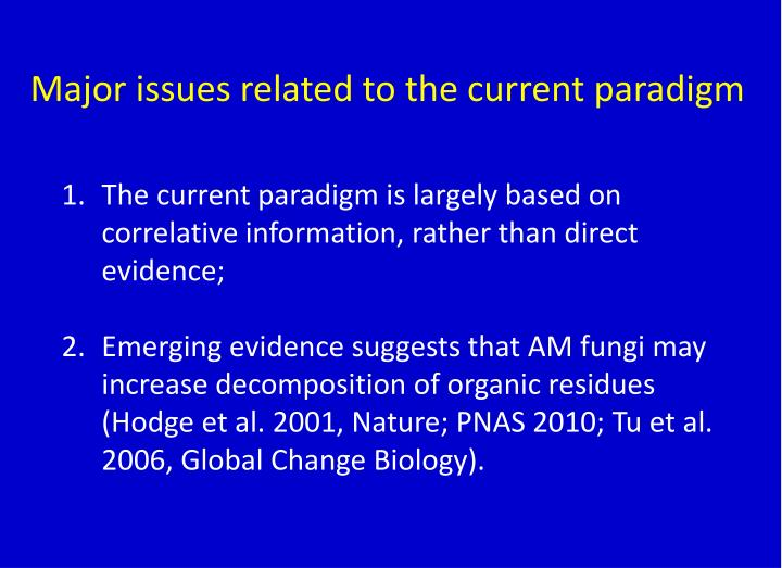 Major issues related to the current paradigm