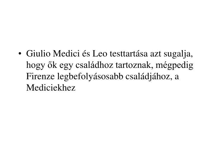 Giulio Medici és Leo testtartása azt sugalja, hogy ők egy családhoz tartoznak, mégpedig Firenze legbefolyásosabb családjához, a Mediciekhez