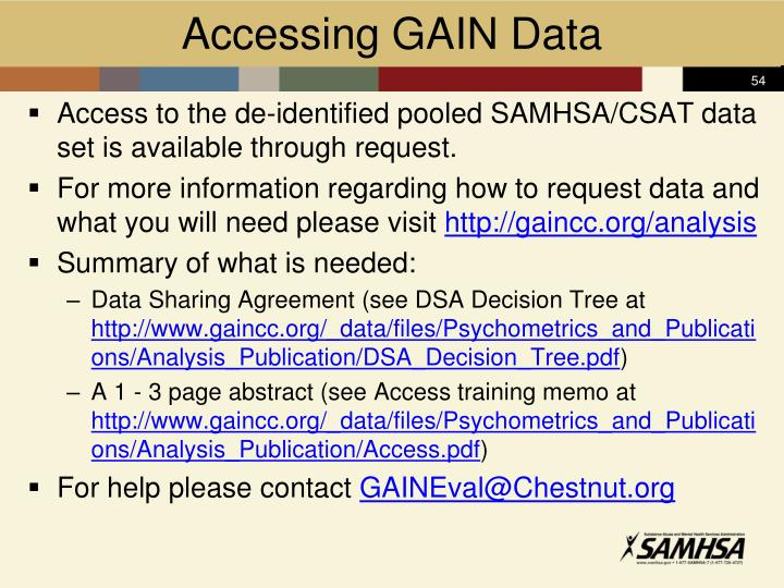 Accessing GAIN Data