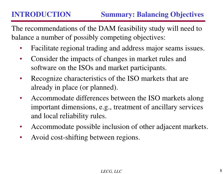 INTRODUCTION	 Summary: Balancing Objectives