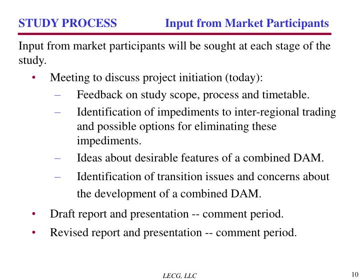 STUDY PROCESS 	 Input from Market Participants