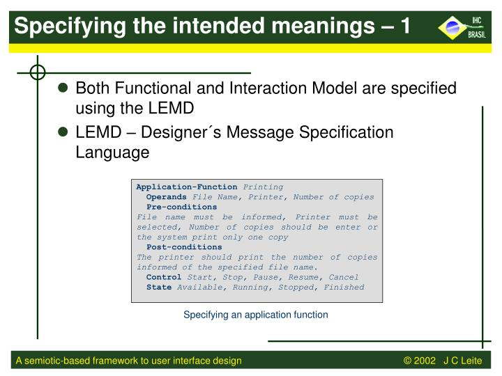 Specifying the intended meanings – 1