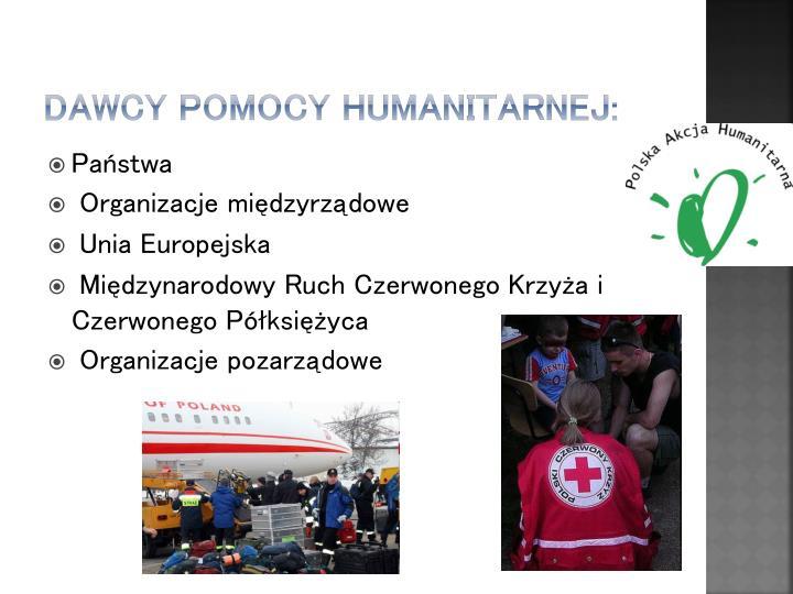 Dawcy pomocy humanitarnej: