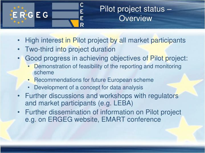 Pilot project status – Overview