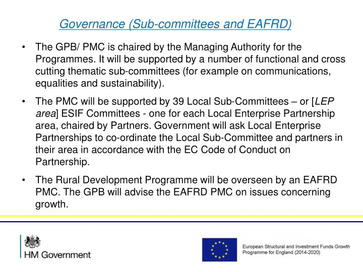 Governance (Sub-committees and EAFRD)