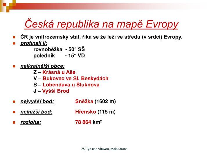 Česká republika na mapě Evropy