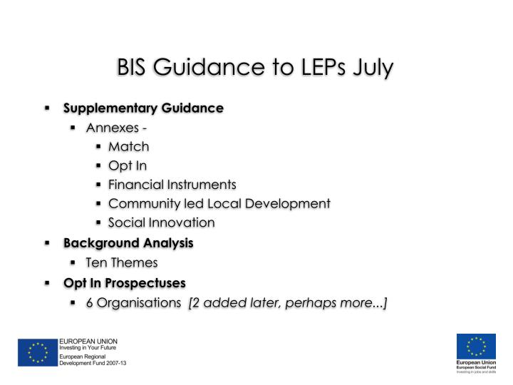 BIS Guidance to LEPs July
