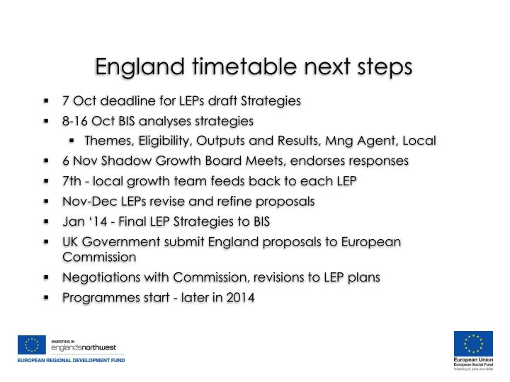 England timetable next steps
