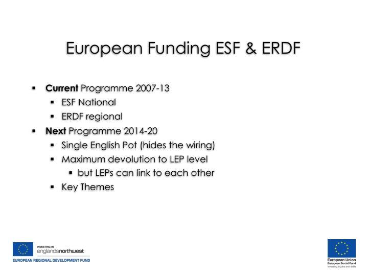European Funding ESF & ERDF