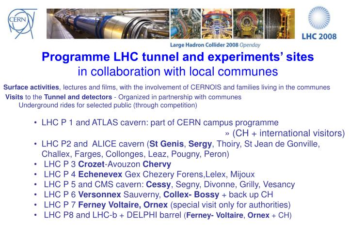 Programme LHC tunnel and experiments' sites