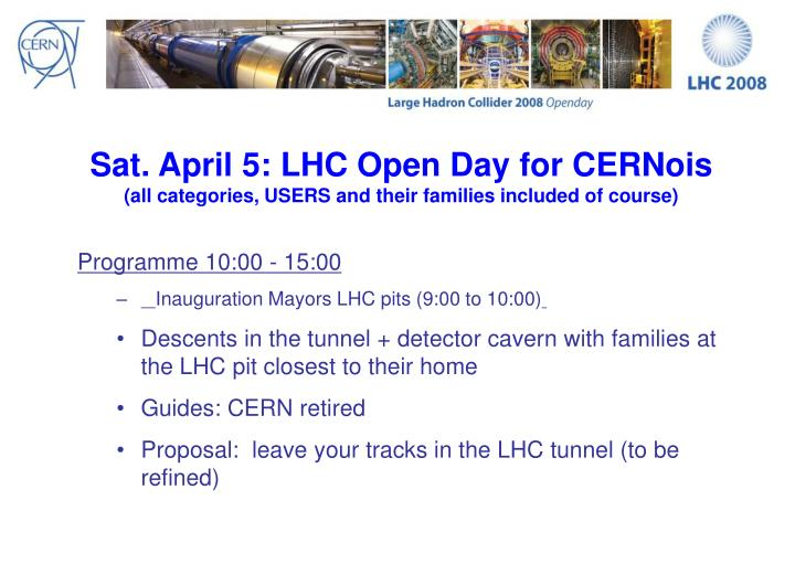 Sat. April 5: LHC Open Day for CERNois