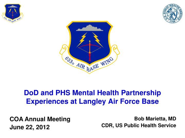 DoD and PHS Mental Health Partnership