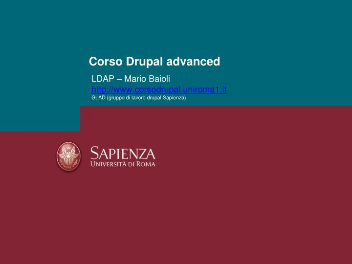 Corso drupal advanced