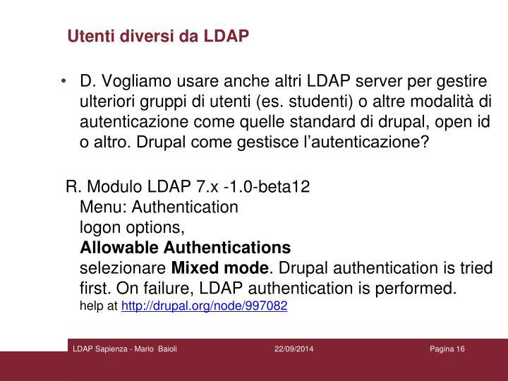 Utenti diversi da LDAP
