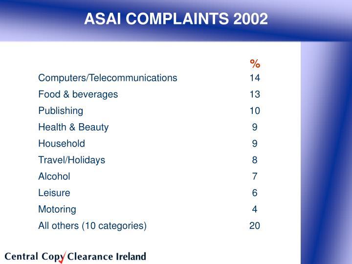 ASAI COMPLAINTS 2002