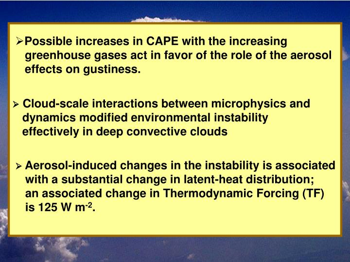 Possible increases in CAPE with the increasing