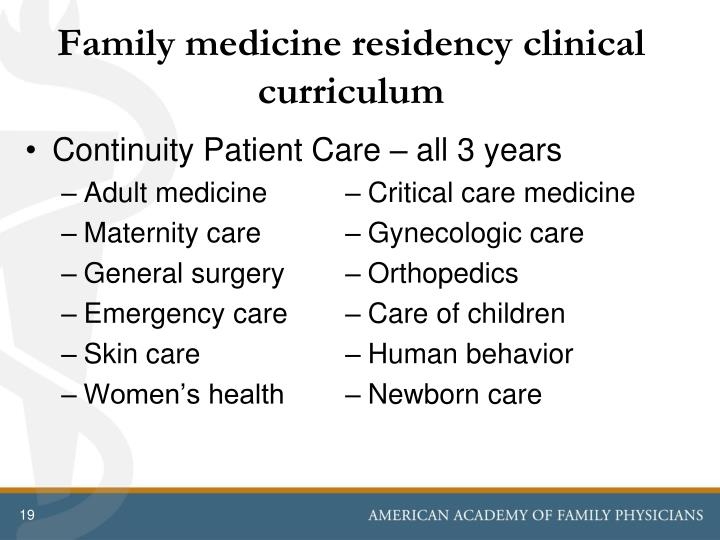 Family medicine residency clinical curriculum