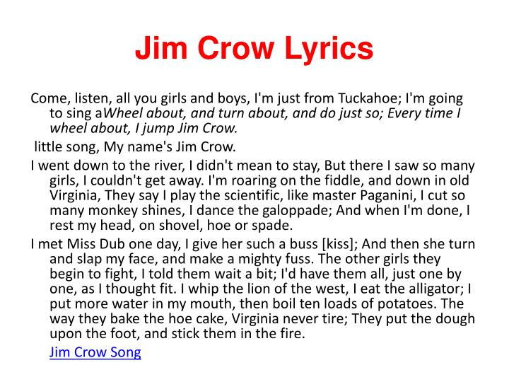 Jim Crow Lyrics