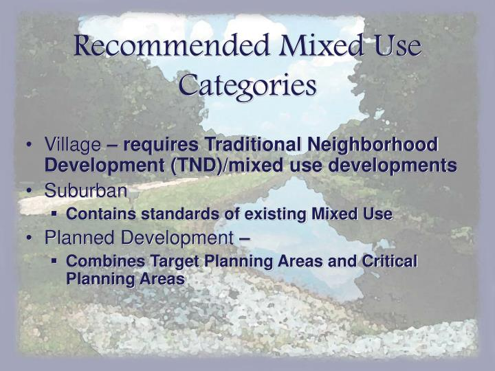 Recommended Mixed Use Categories
