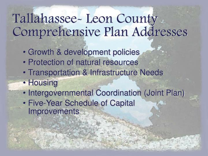 Tallahassee- Leon County Comprehensive Plan Addresses