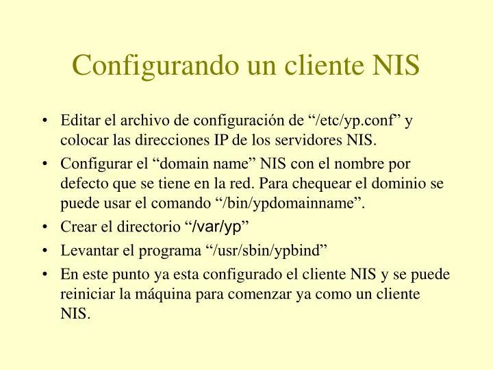 Configurando un cliente NIS