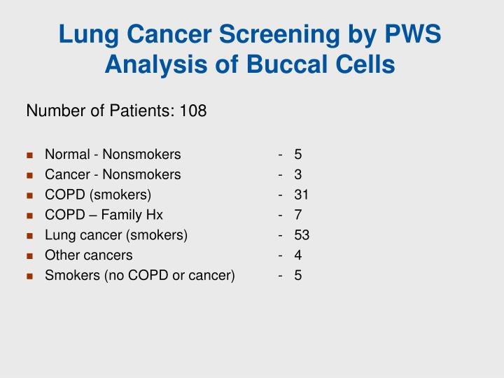 Lung Cancer Screening by PWS Analysis of Buccal Cells