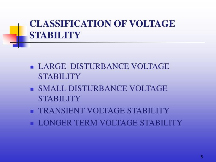 CLASSIFICATION OF VOLTAGE STABILITY