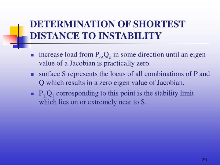 DETERMINATION OF SHORTEST DISTANCE TO INSTABILITY