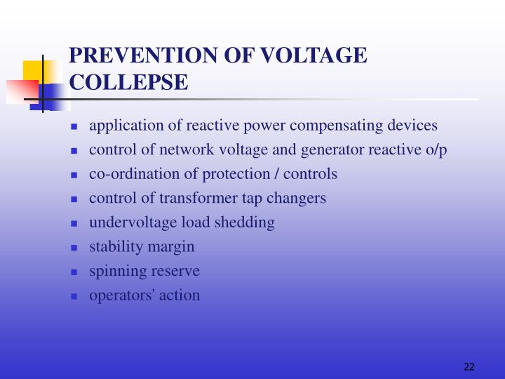 PREVENTION OF VOLTAGE COLLEPSE