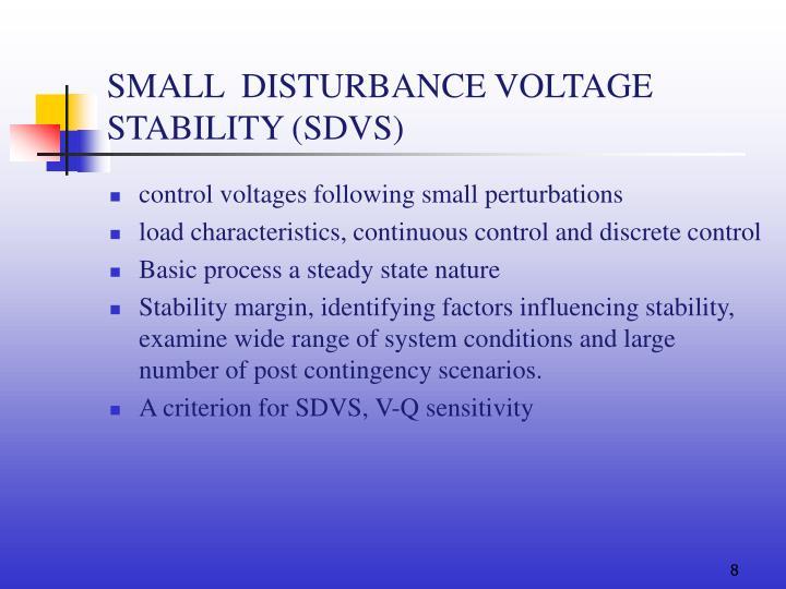 SMALL  DISTURBANCE VOLTAGE STABILITY (SDVS)