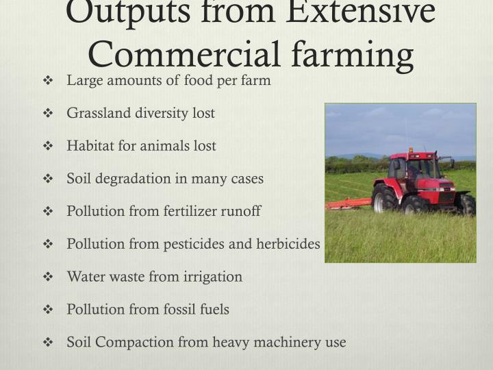 Outputs from Extensive Commercial farming