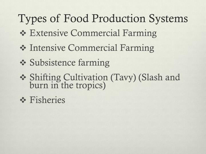 Types of Food Production Systems