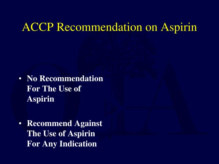 No Recommendation For The Use of Aspirin